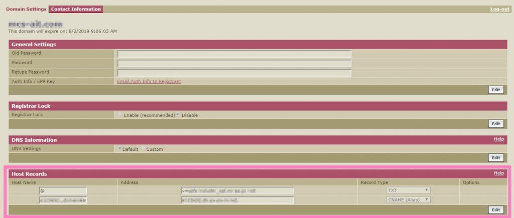 enomのドメインに対するSPF/DKIM設定